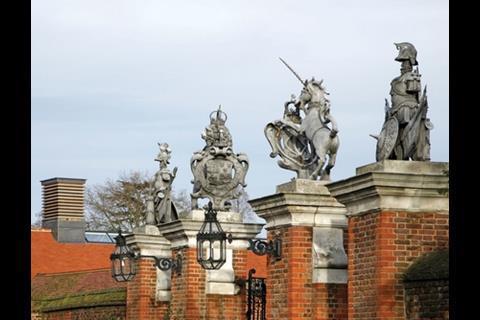 The ventilation stacks echo the palace's historic gateposts